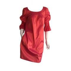 Nina Ricci Pink / Salmon Iridescent Silk Babydoll Bell Sleeve Dress w/ Pockets