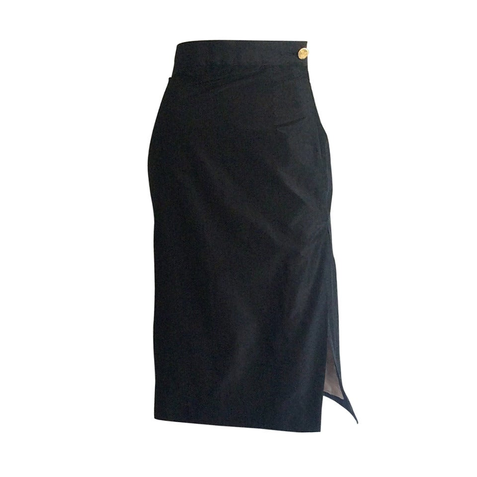 1990s Vintage Vivienne Westwood Gold Label High Waisted Black Silk Pencil Skirt