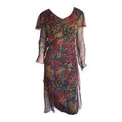 Beautiful Vintage Holly's Harp Floral Chiffon Boho Dress w/ Sleeve Detail