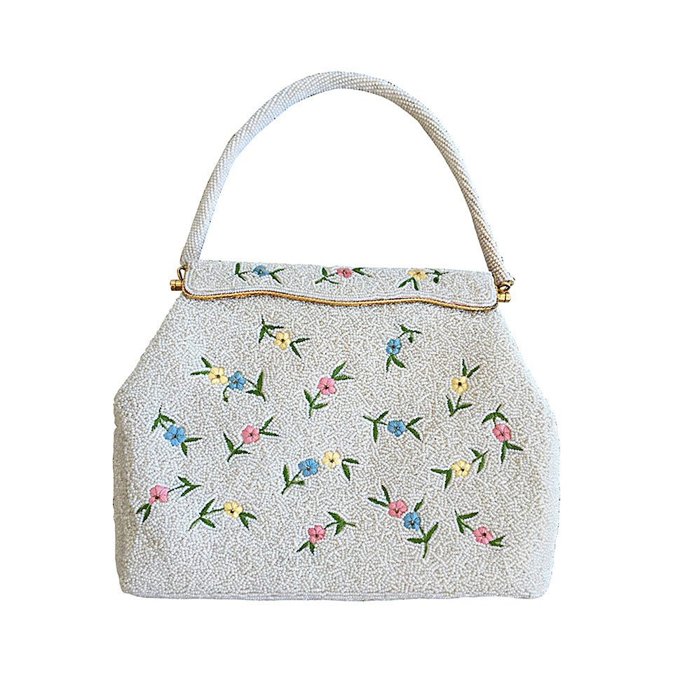 Beautiful 1960s 60s Large White Beaded Flower Purse For Sale
