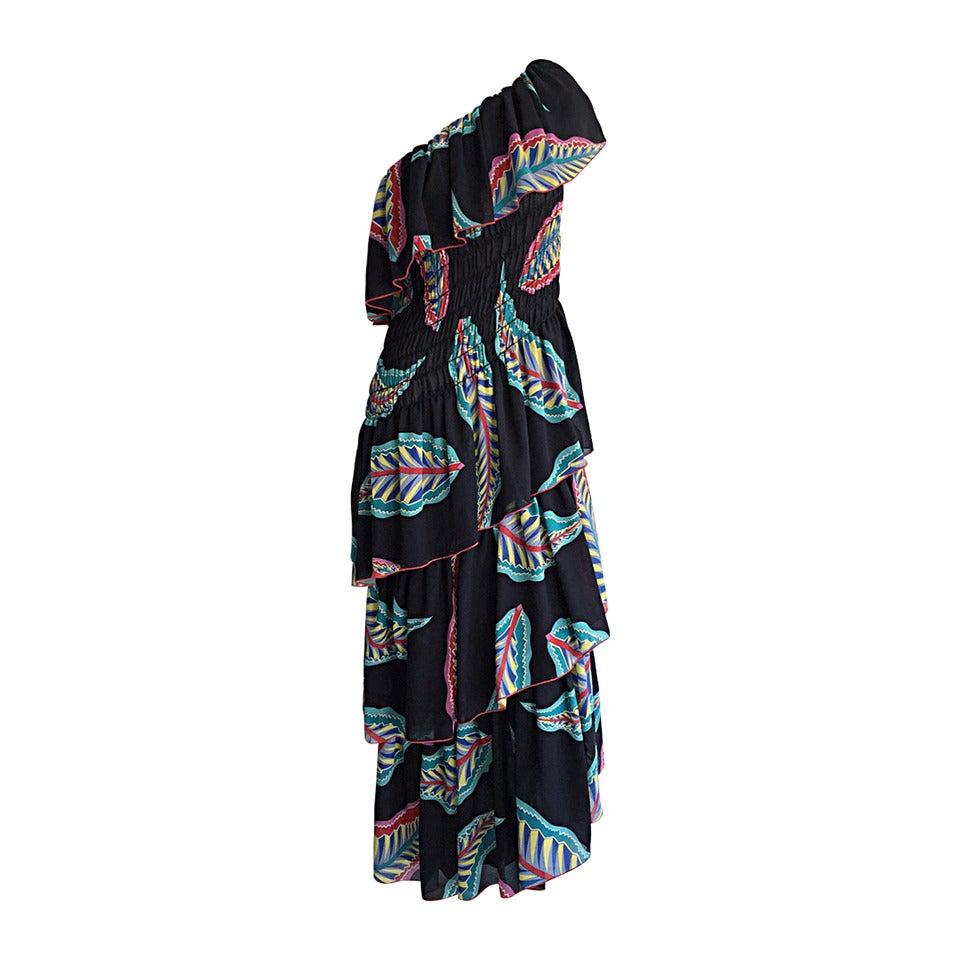 Vintage 1970s Lillie Rubin One - Shoulder Feather Tiered Asymmetrical Boho Dress