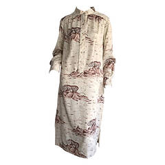 Rare Vintage Jeanne Lanvin Asian / Chinese Themed Tiger Print Tunic Dress