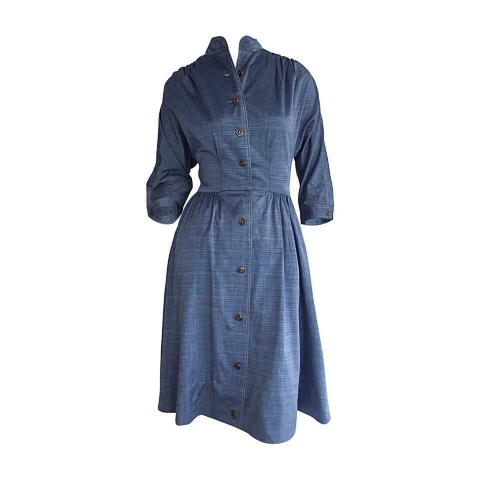 1940s Vintage B. Altman & Co. Denim Chambray Dress w/ Horse Buttons 1