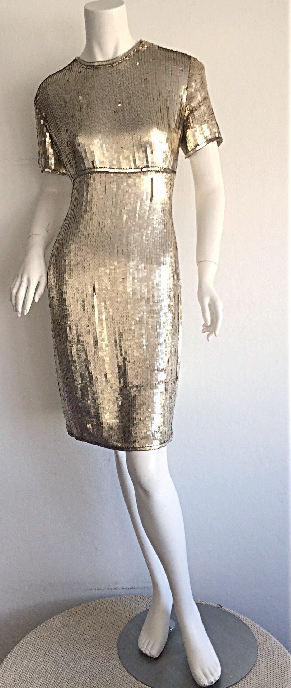 Stunning Vintage Calvin Klein Gold Sequin Cocktail Dress 2