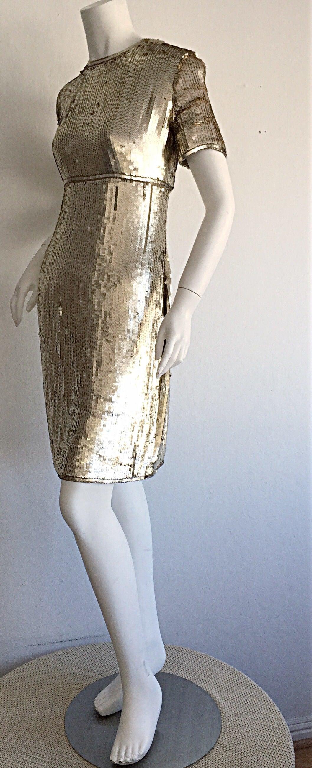 Stunning Vintage Calvin Klein Gold Sequin Cocktail Dress 3