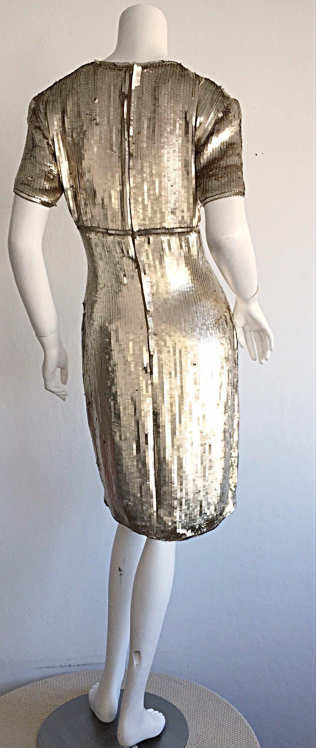Stunning Vintage Calvin Klein Gold Sequin Cocktail Dress 4