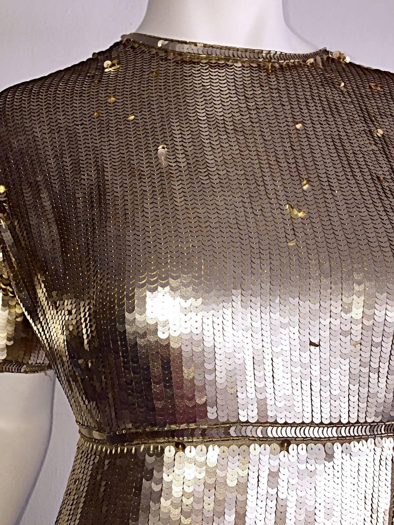 Stunning Vintage Calvin Klein Gold Sequin Cocktail Dress 5