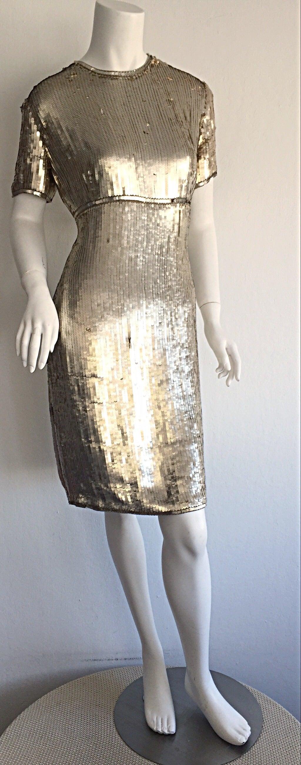 Stunning Vintage Calvin Klein Gold Sequin Cocktail Dress 6