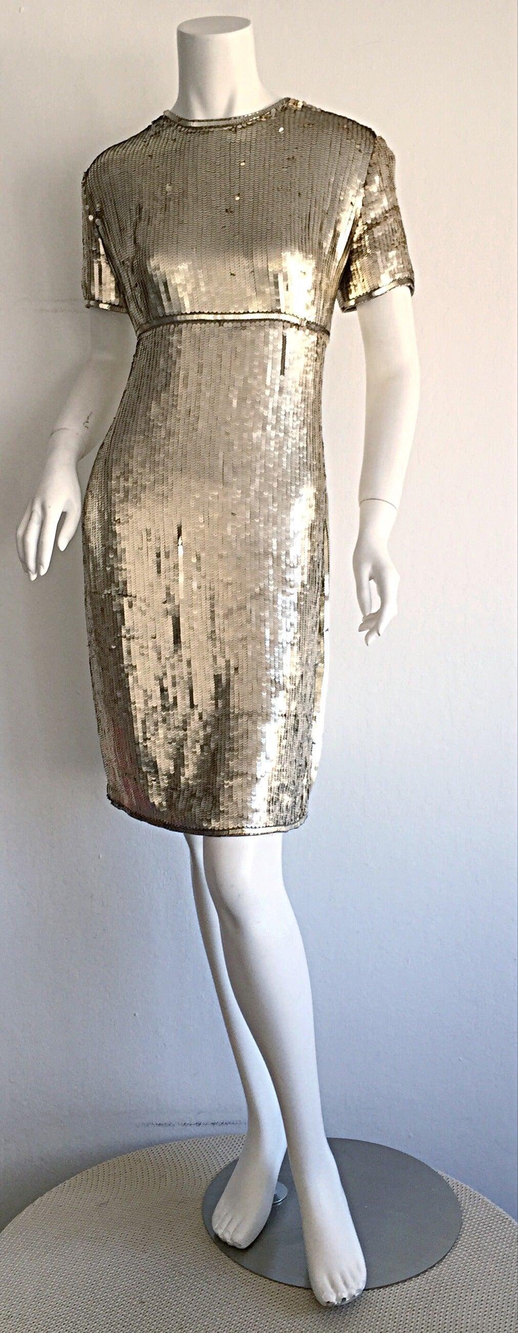 Stunning Vintage Calvin Klein Gold Sequin Cocktail Dress 7