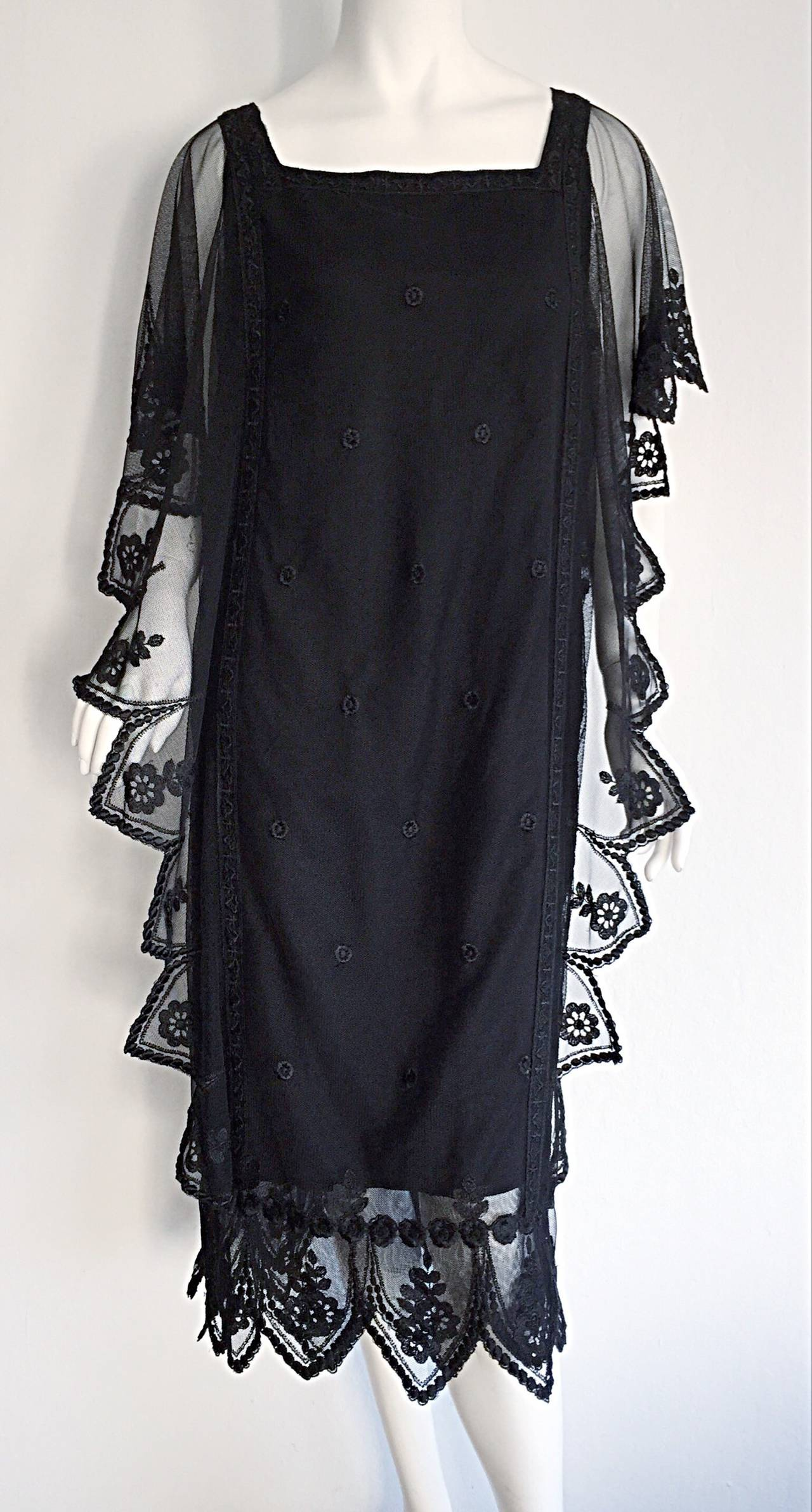 Vintage Giorgio Sant 'Angelo Black Lace ' Flapper ' Style Gatsby Dress 2