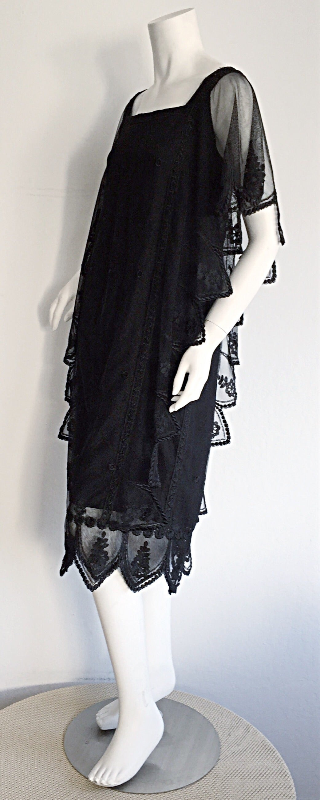Vintage Giorgio Sant 'Angelo Black Lace ' Flapper ' Style Gatsby Dress 3