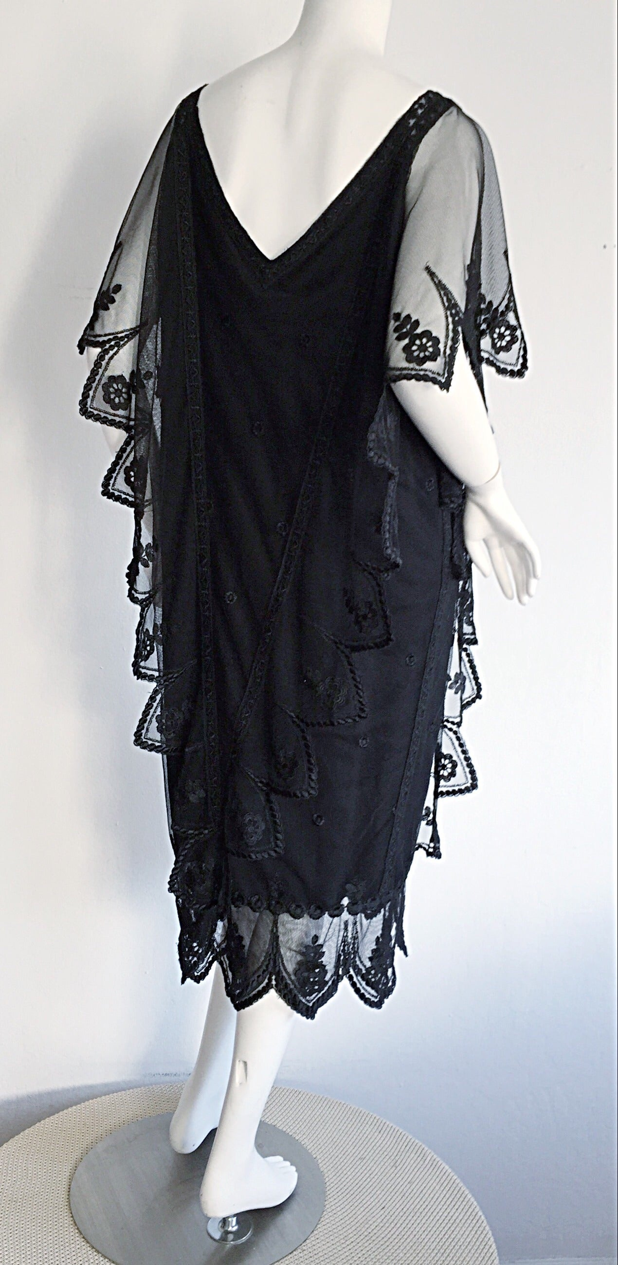 Vintage Giorgio Sant 'Angelo Black Lace ' Flapper ' Style Gatsby Dress 4