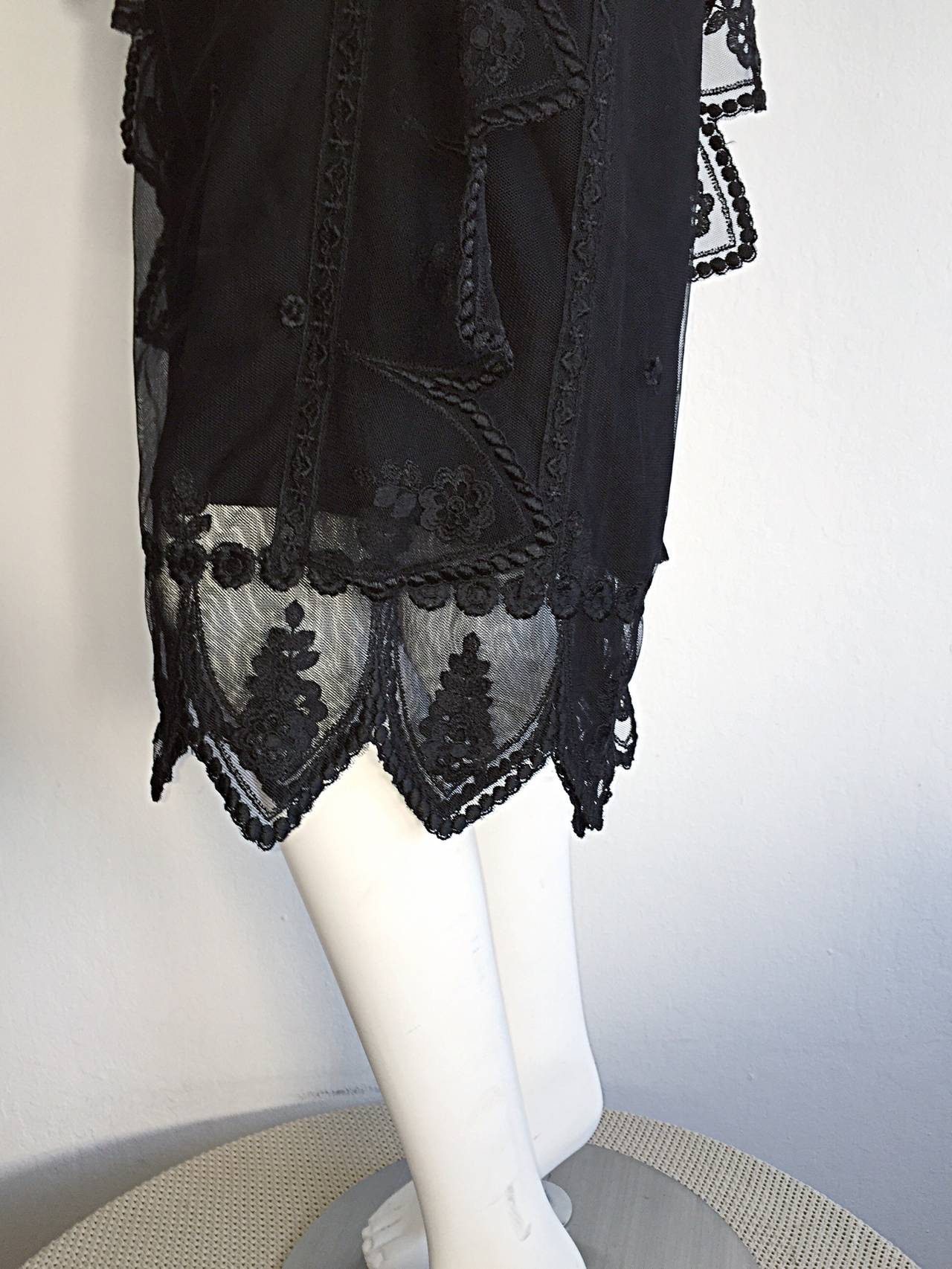 Vintage Giorgio Sant 'Angelo Black Lace ' Flapper ' Style Gatsby Dress 5