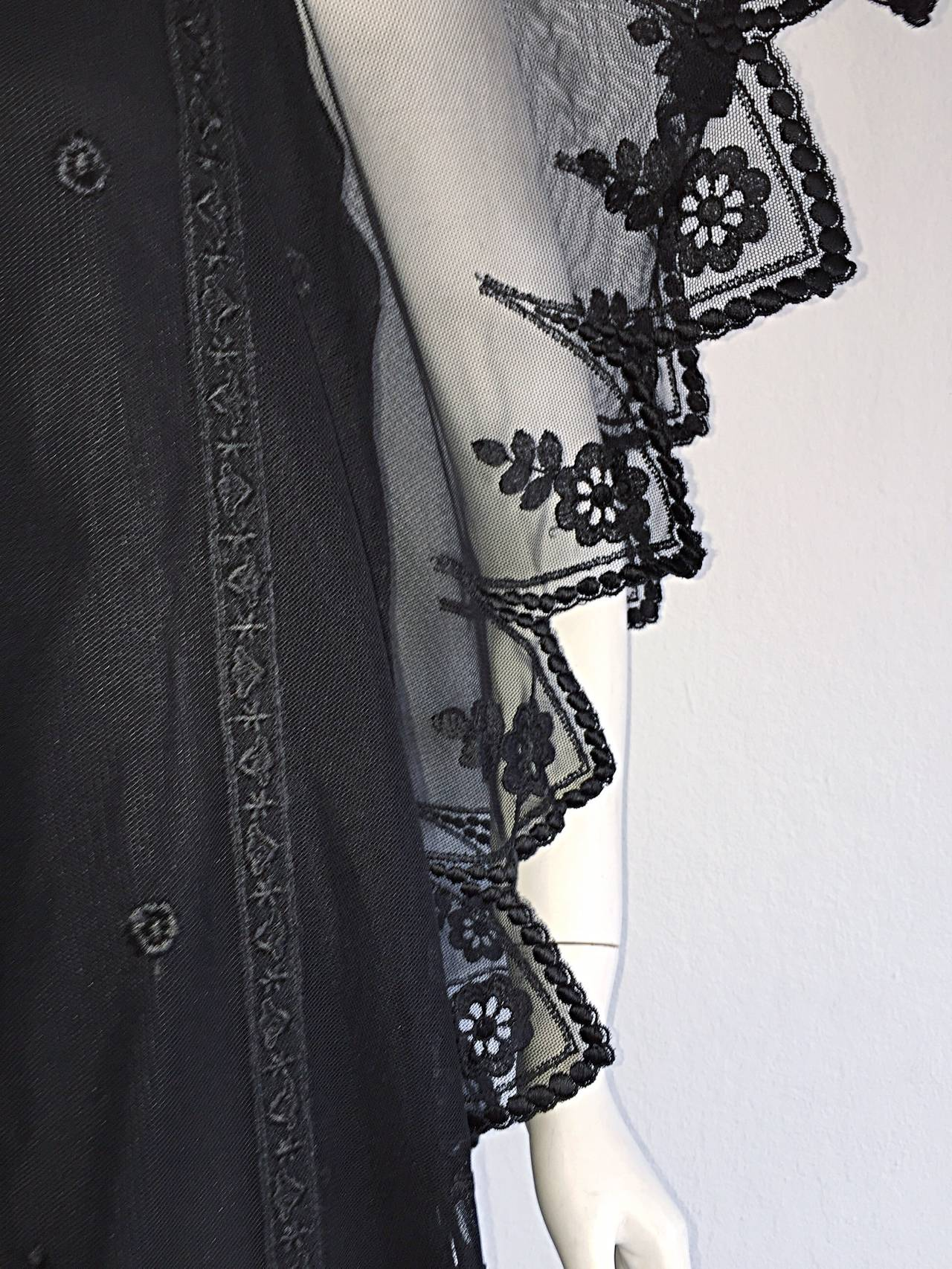 Vintage Giorgio Sant 'Angelo Black Lace ' Flapper ' Style Gatsby Dress 6