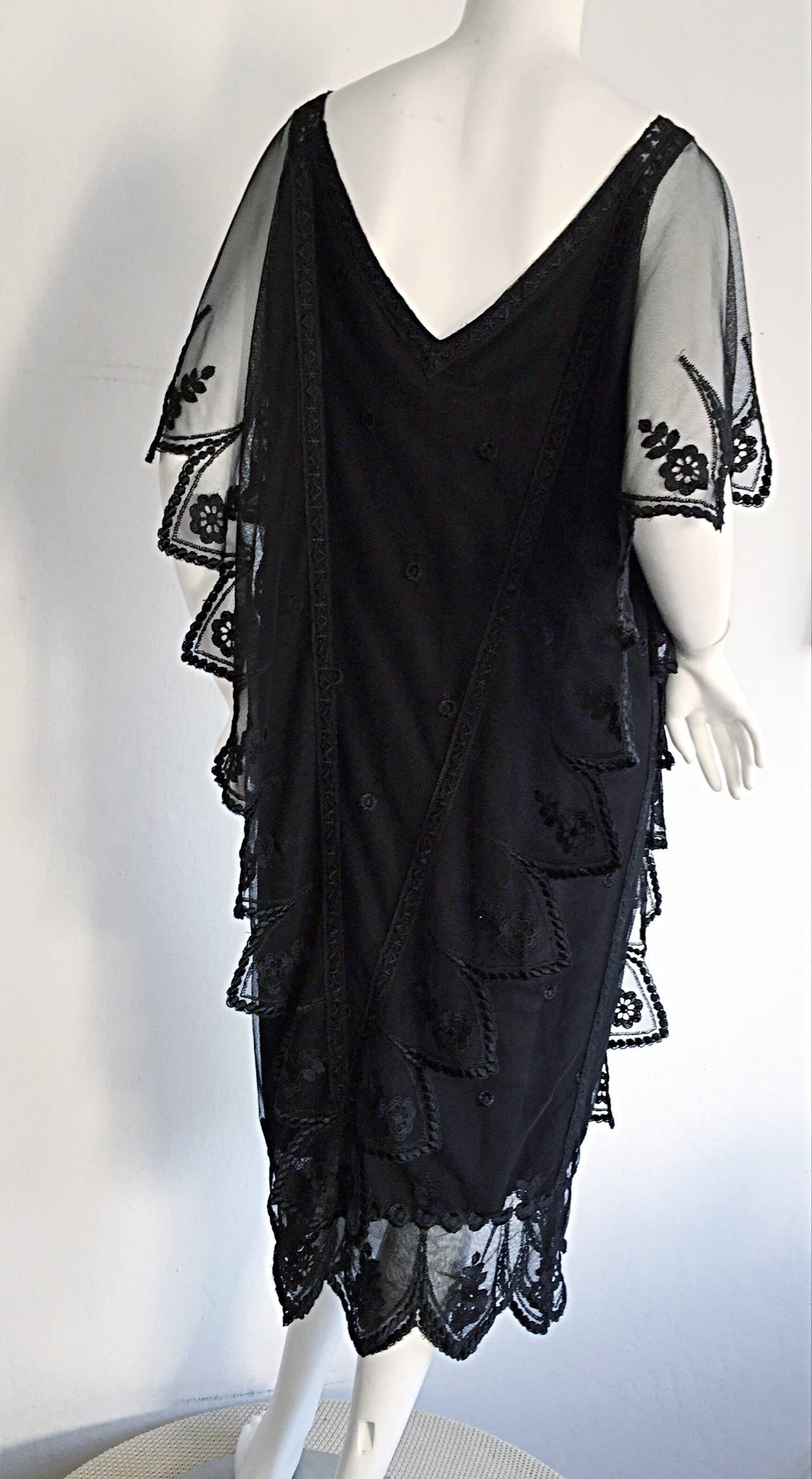 Vintage Giorgio Sant 'Angelo Black Lace ' Flapper ' Style Gatsby Dress 7