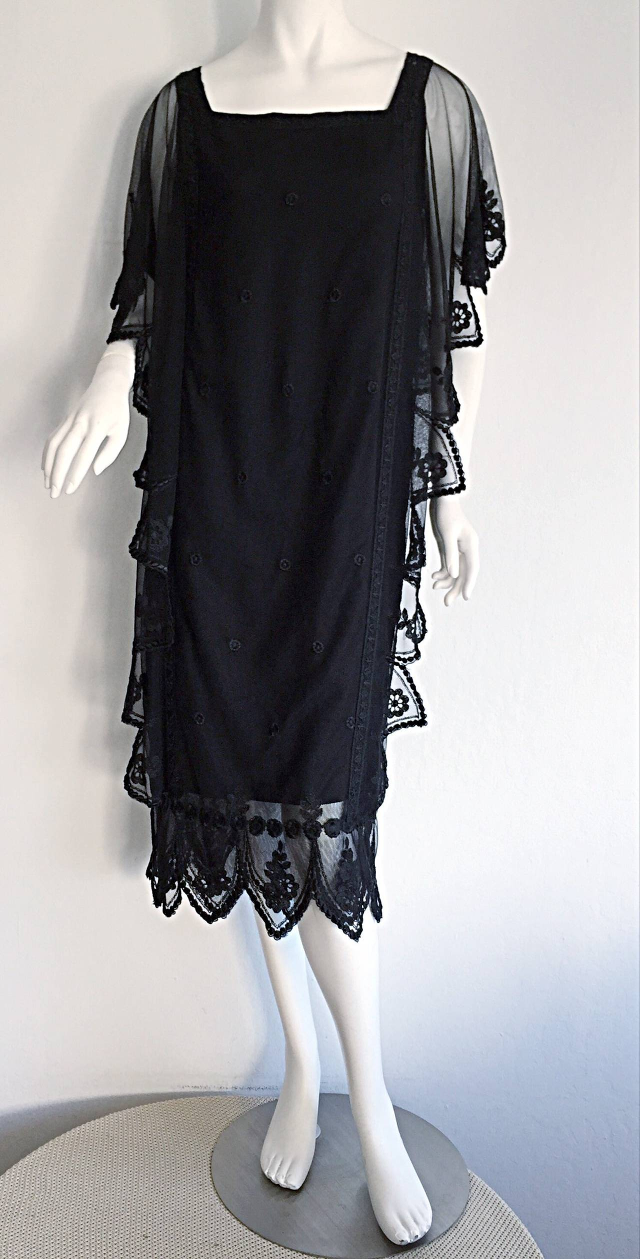 Vintage Giorgio Sant 'Angelo Black Lace ' Flapper ' Style Gatsby Dress 8