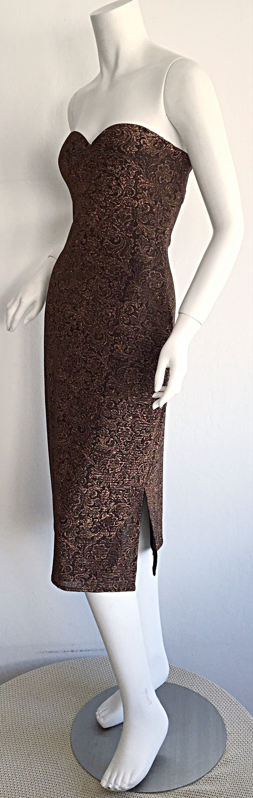 Black Beautiful Vintage Casadei Bronze Intricate Metallic Dress w/ Convertible Straps For Sale