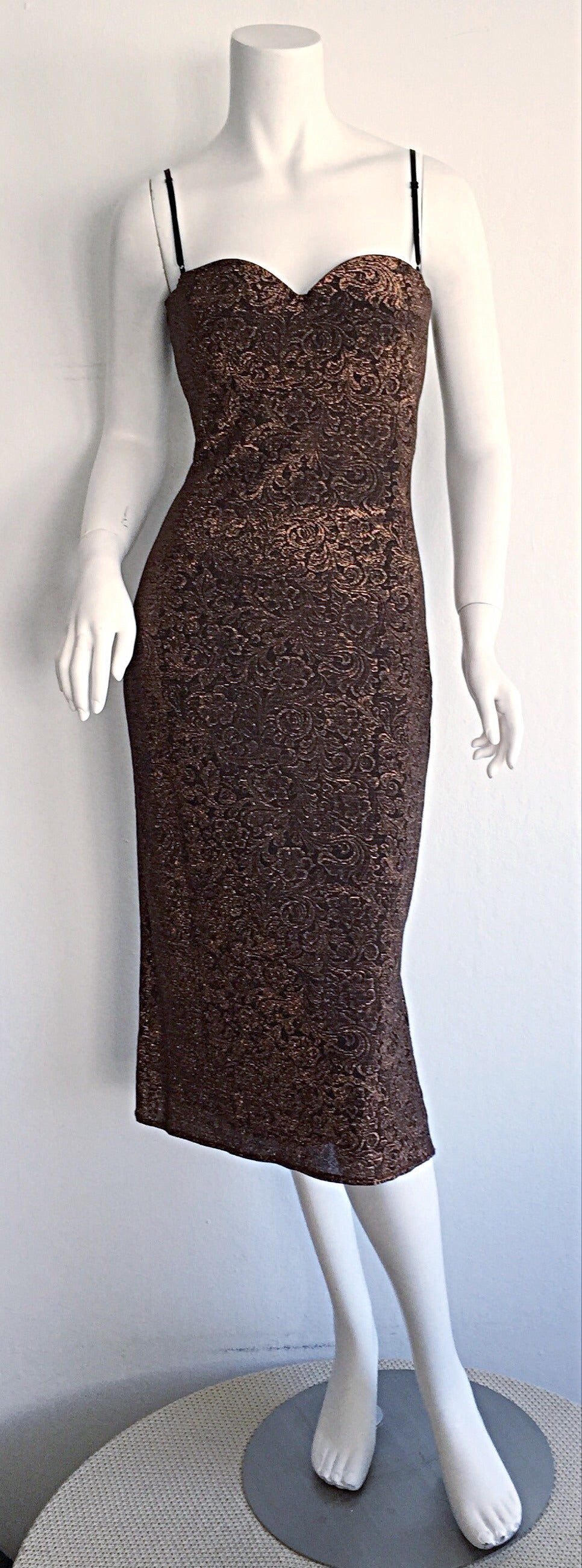 Beautiful Vintage Casadei Bronze Intricate Metallic Dress w/ Convertible Straps In Excellent Condition For Sale In Chicago, IL