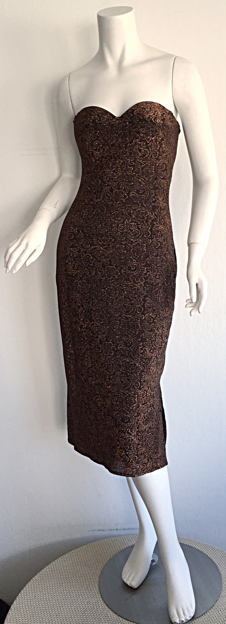 Women's Beautiful Vintage Casadei Bronze Intricate Metallic Dress w/ Convertible Straps For Sale