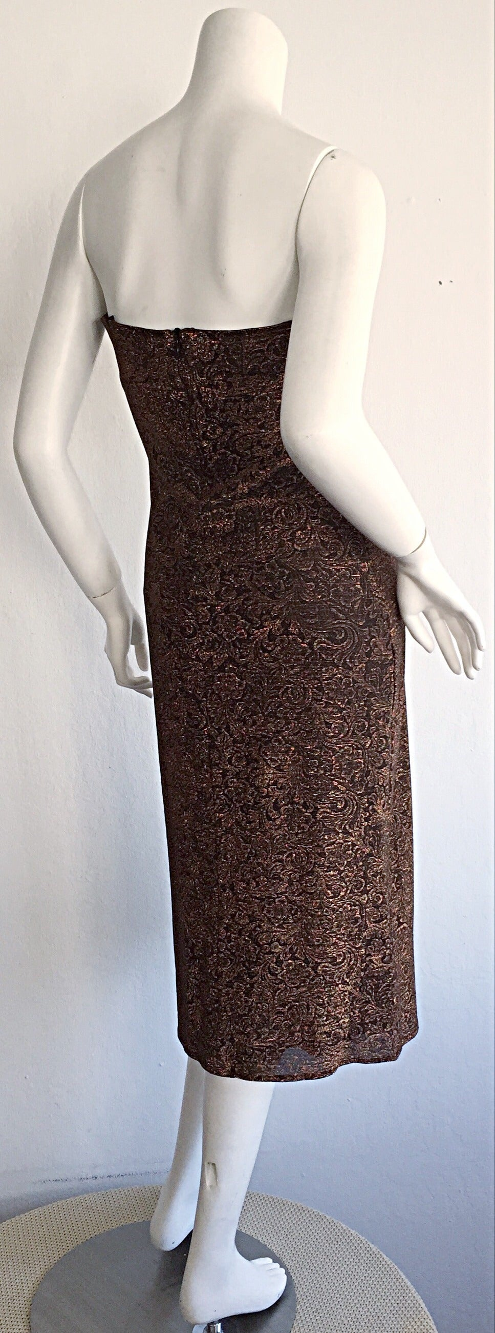 Beautiful Vintage Casadei Bronze Intricate Metallic Dress w/ Convertible Straps For Sale 1