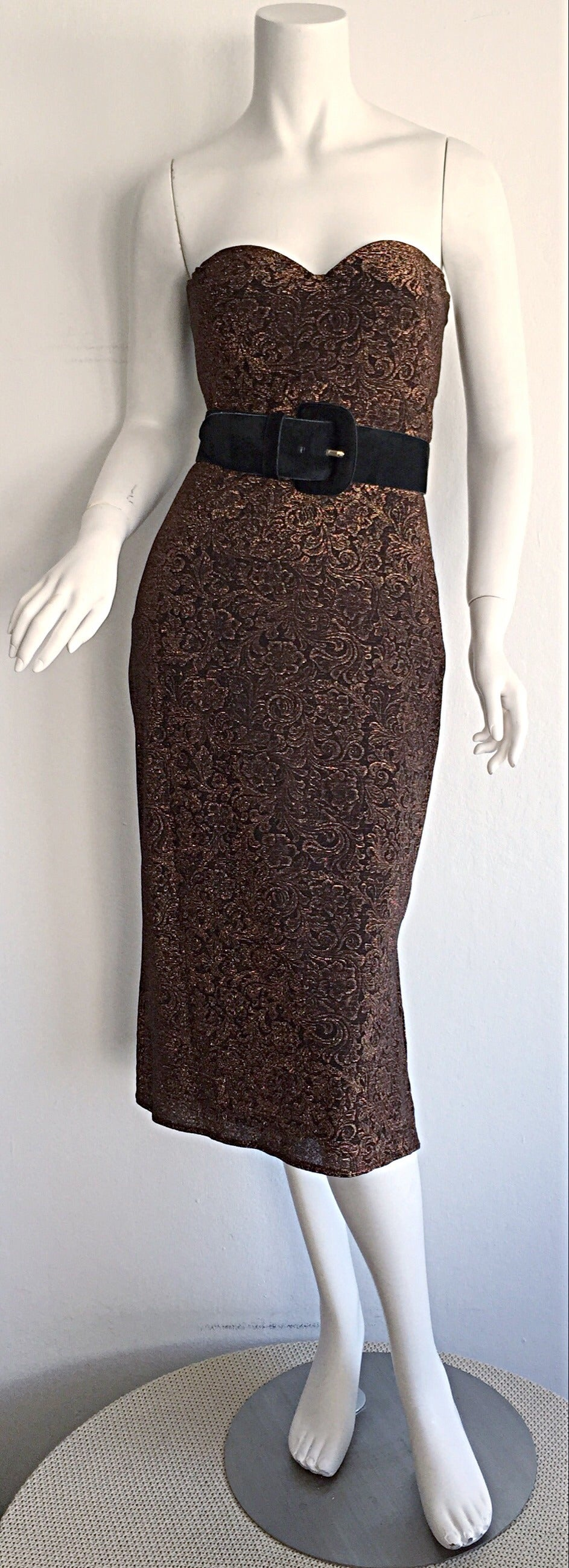 Beautiful Vintage Casadei Bronze Intricate Metallic Dress w/ Convertible Straps For Sale 2