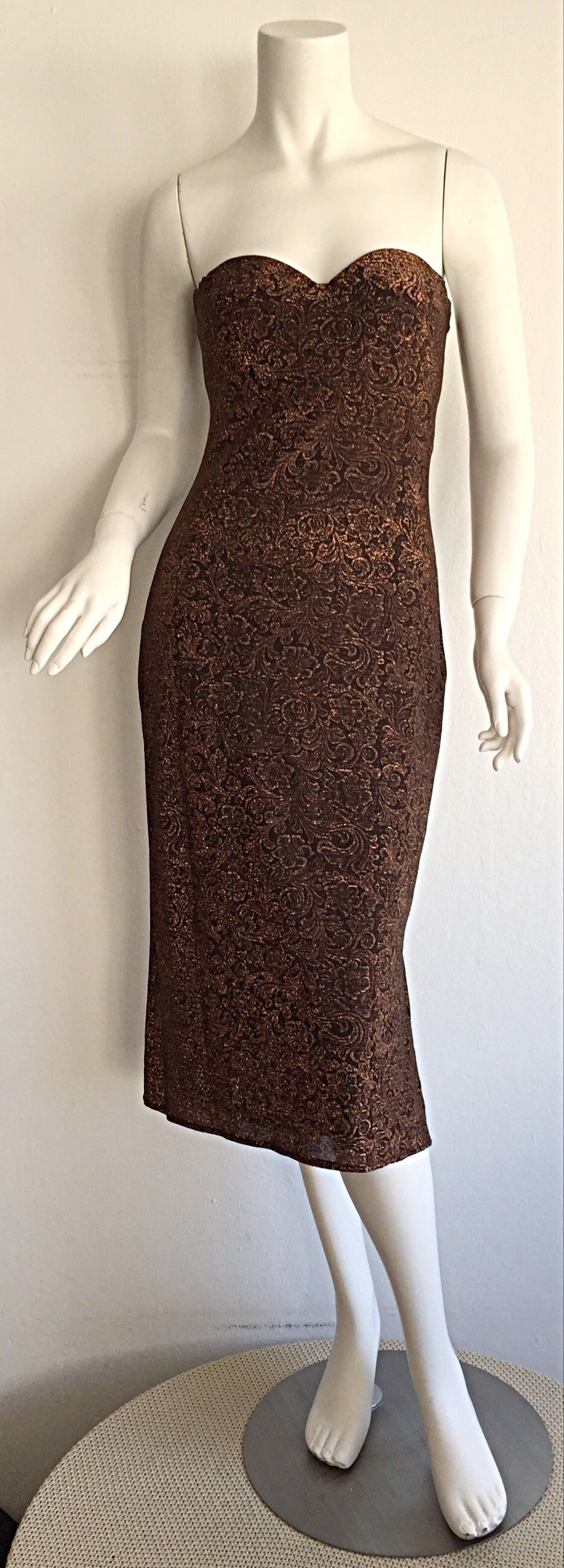 Beautiful Vintage Casadei Bronze Intricate Metallic Dress w/ Convertible Straps For Sale 3