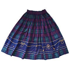 Vintage Ralph Lauren ' Blue Label ' Tartan Plaid Equestrian Nautical Polo Skirt