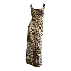1960s Mollie Parnis Cotton Leopard Silver + Gold Sequin Bombshell Dress