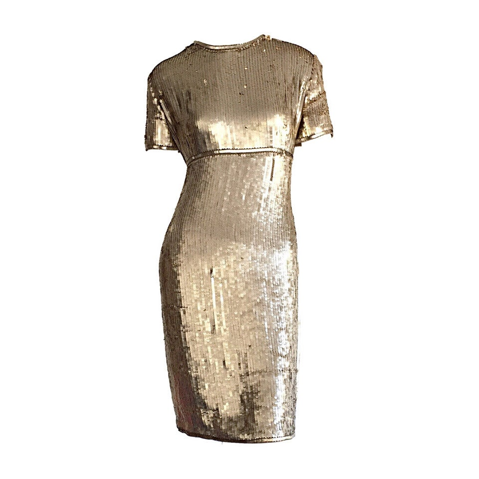 Stunning Vintage Calvin Klein Gold Sequin Cocktail Dress 1