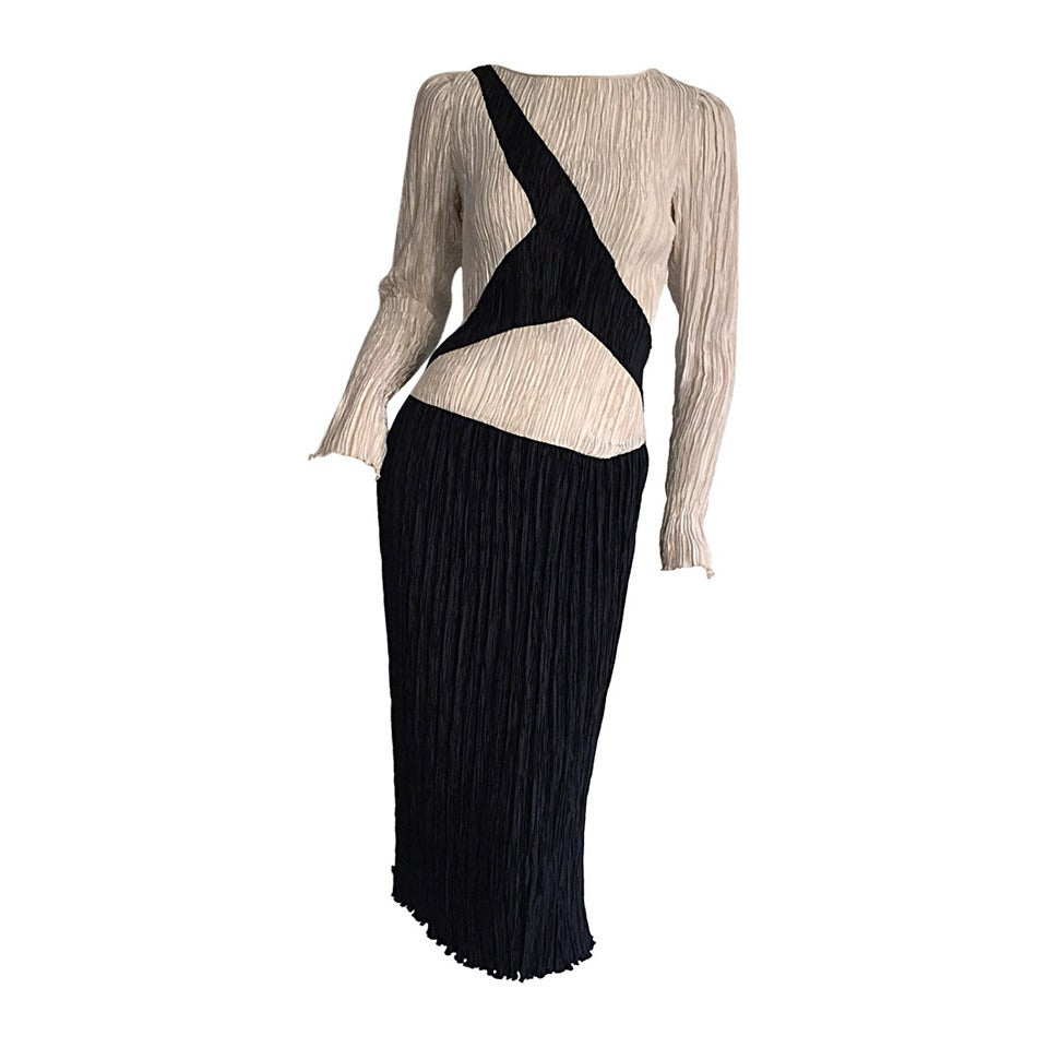 Vintage Mary McFadden Couture Black + White Fortuny Pleated Dress
