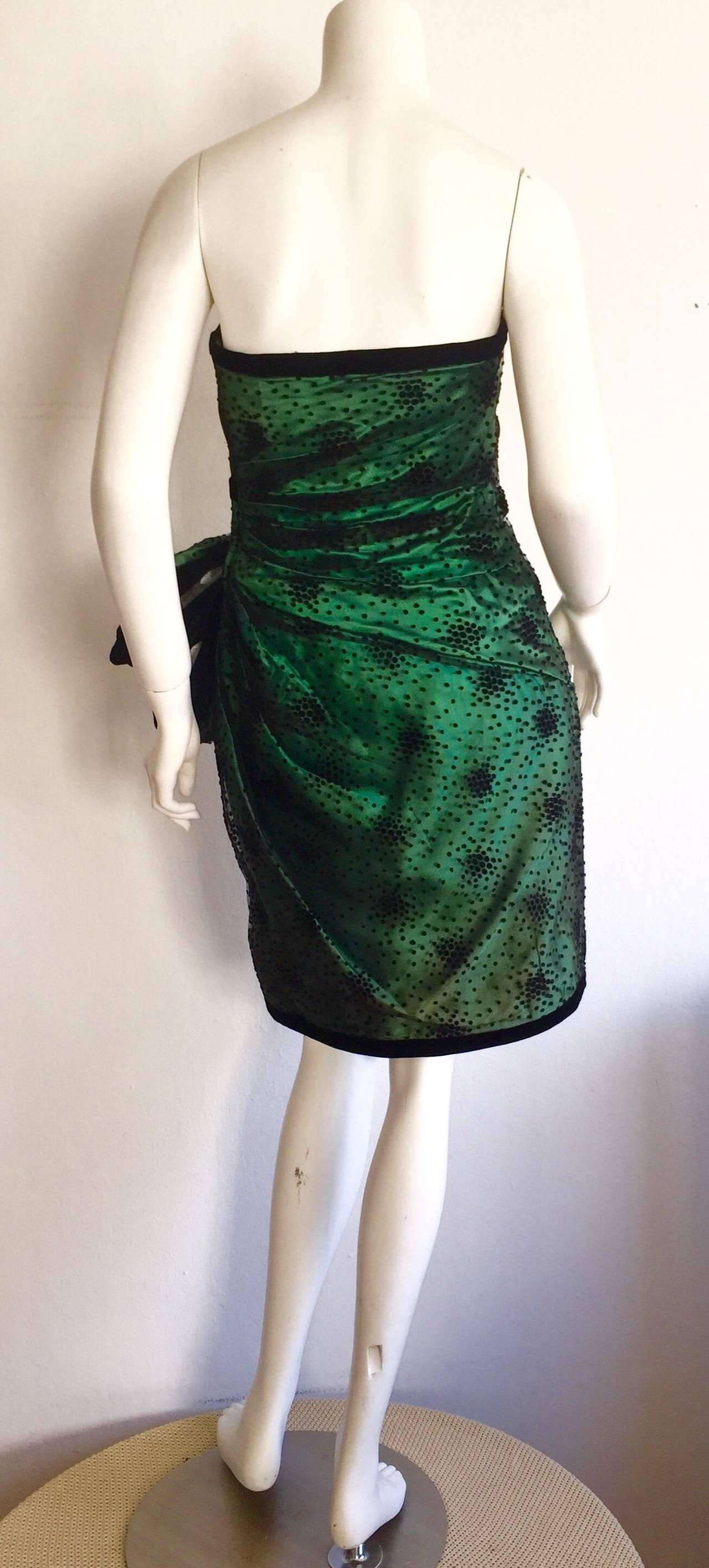 Incredible Vintage Victor Costa Bergdorf Goodman Green + Black Bow Dress 4