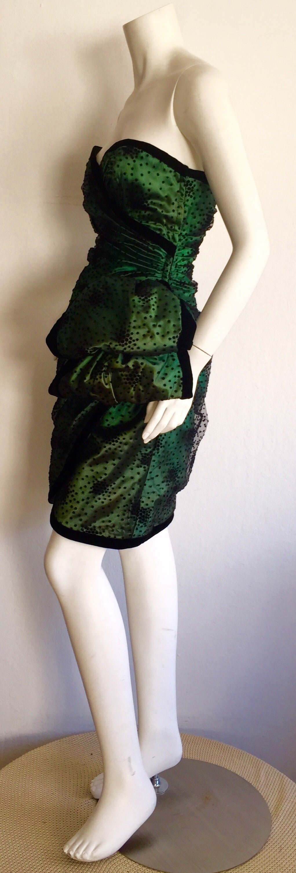 Incredible Vintage Victor Costa Bergdorf Goodman Green + Black Bow Dress 5