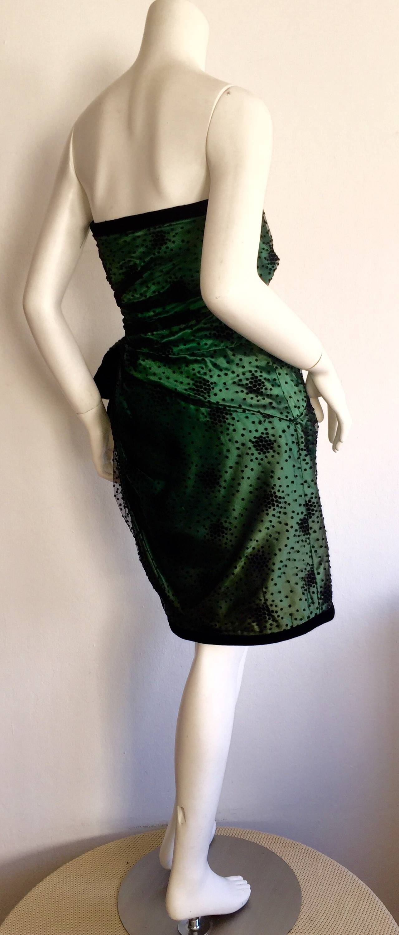 Incredible Vintage Victor Costa Bergdorf Goodman Green + Black Bow Dress 7