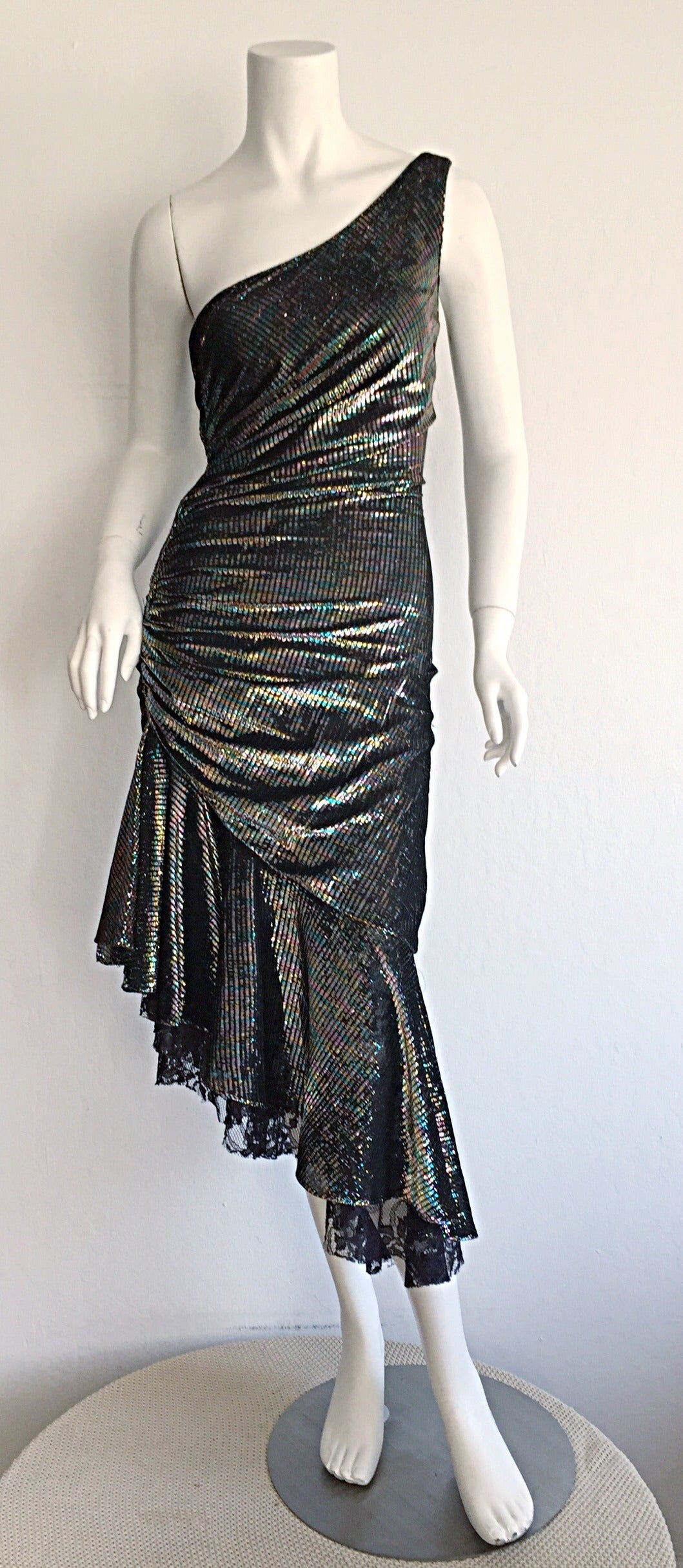 Stunning 1970s Samir One - Shoulder Metallic Rainbow Iridescent Cocktail Dress 2