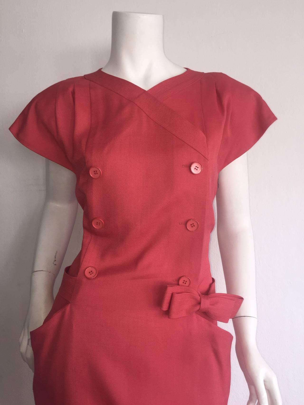 Vintage Nina Ricci Raspberry Pink Double Breasted Dress w/ Pockets + Bow Belt 3