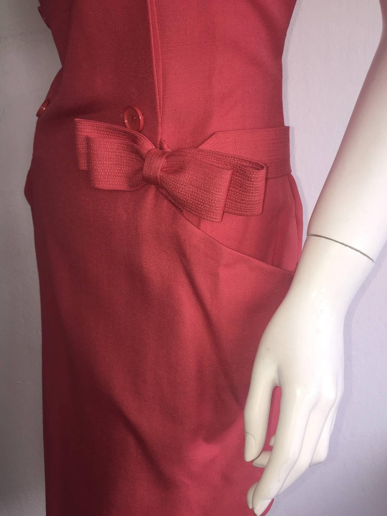 Vintage Nina Ricci Raspberry Pink Double Breasted Dress w/ Pockets + Bow Belt 4