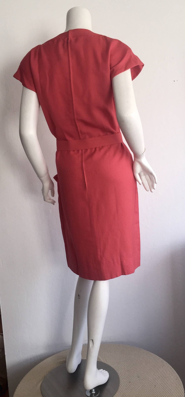 Vintage Nina Ricci Raspberry Pink Double Breasted Dress w/ Pockets + Bow Belt 5