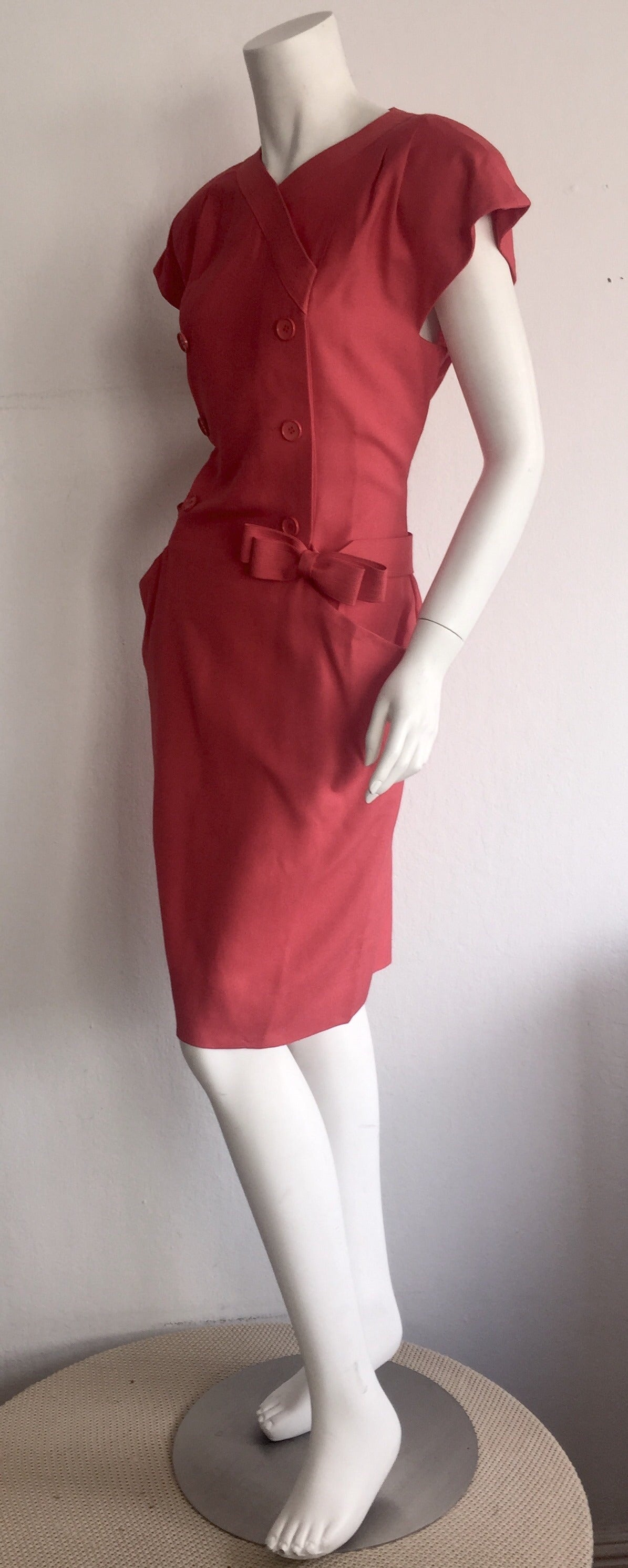 Vintage Nina Ricci Raspberry Pink Double Breasted Dress w/ Pockets + Bow Belt 6