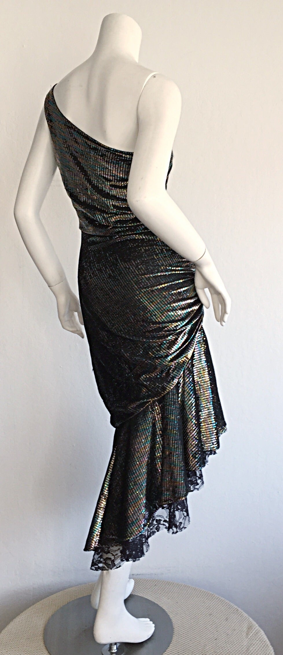 Stunning 1970s Samir One - Shoulder Metallic Rainbow Iridescent Cocktail Dress 3