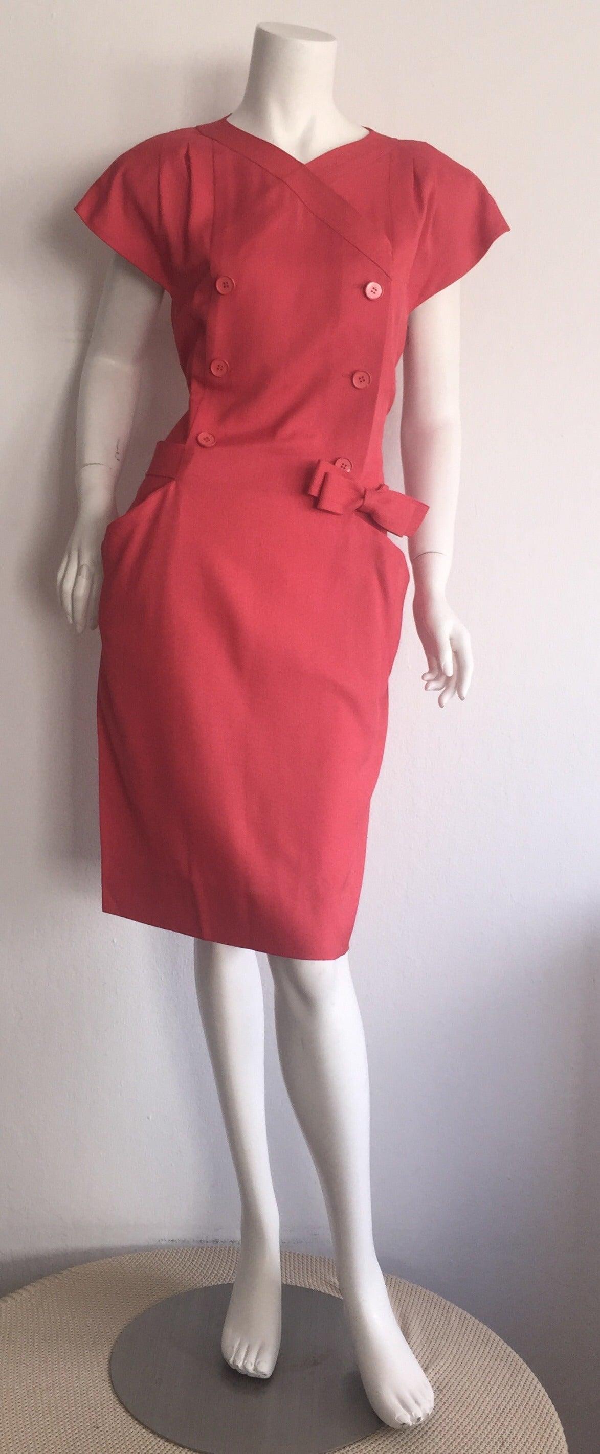 Vintage Nina Ricci Raspberry Pink Double Breasted Dress w/ Pockets + Bow Belt 7