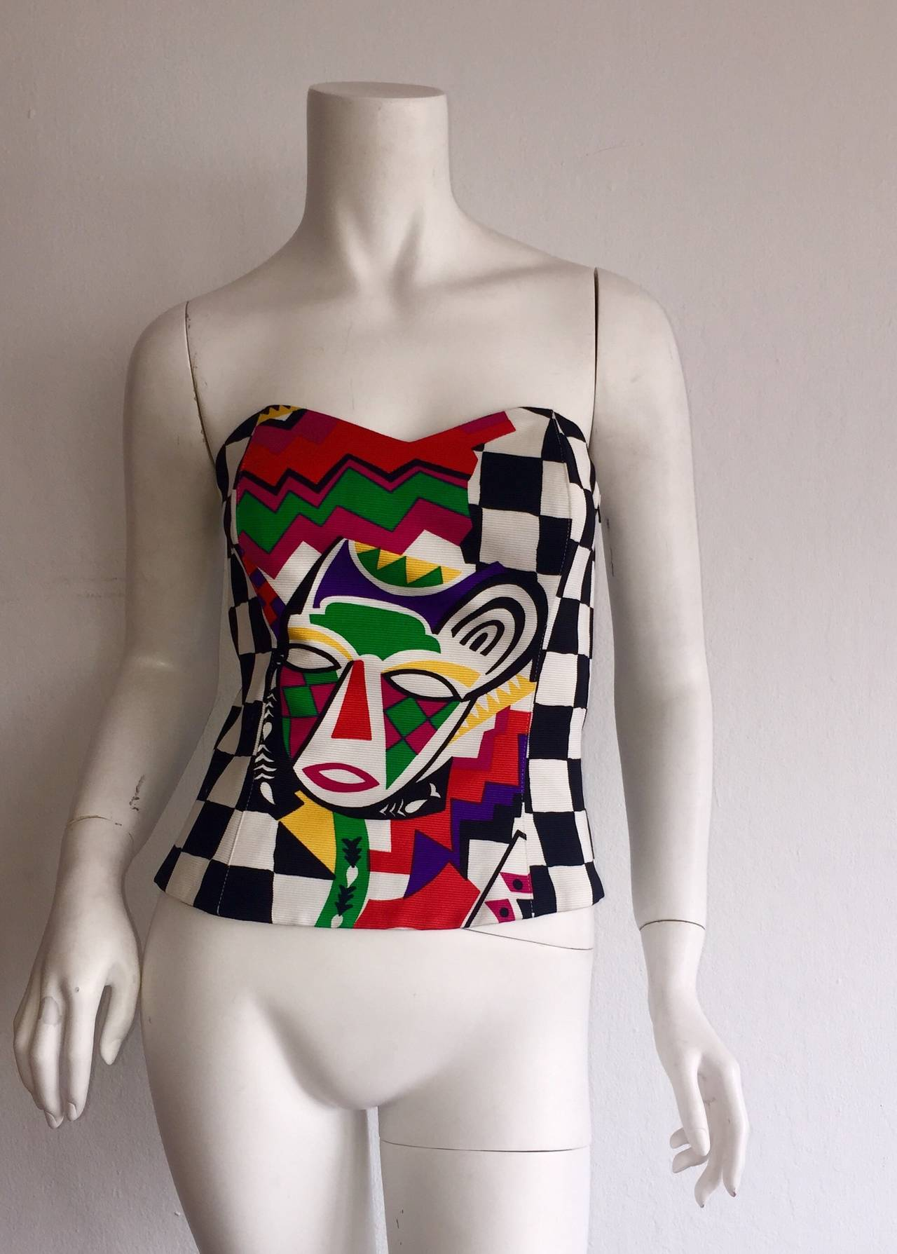 Amazing Vintage Escada by Laurel African Checkered Print Corset Top 2