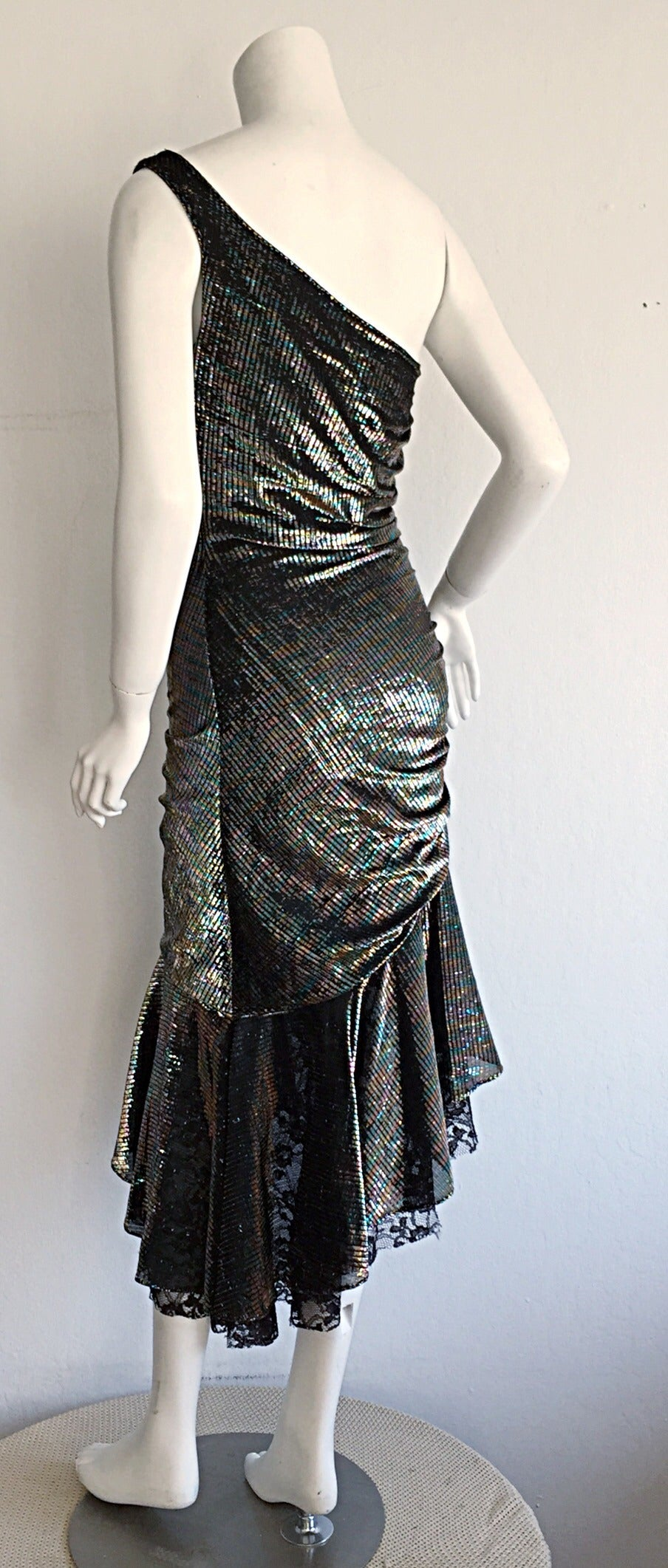 Stunning 1970s Samir One - Shoulder Metallic Rainbow Iridescent Cocktail Dress 7