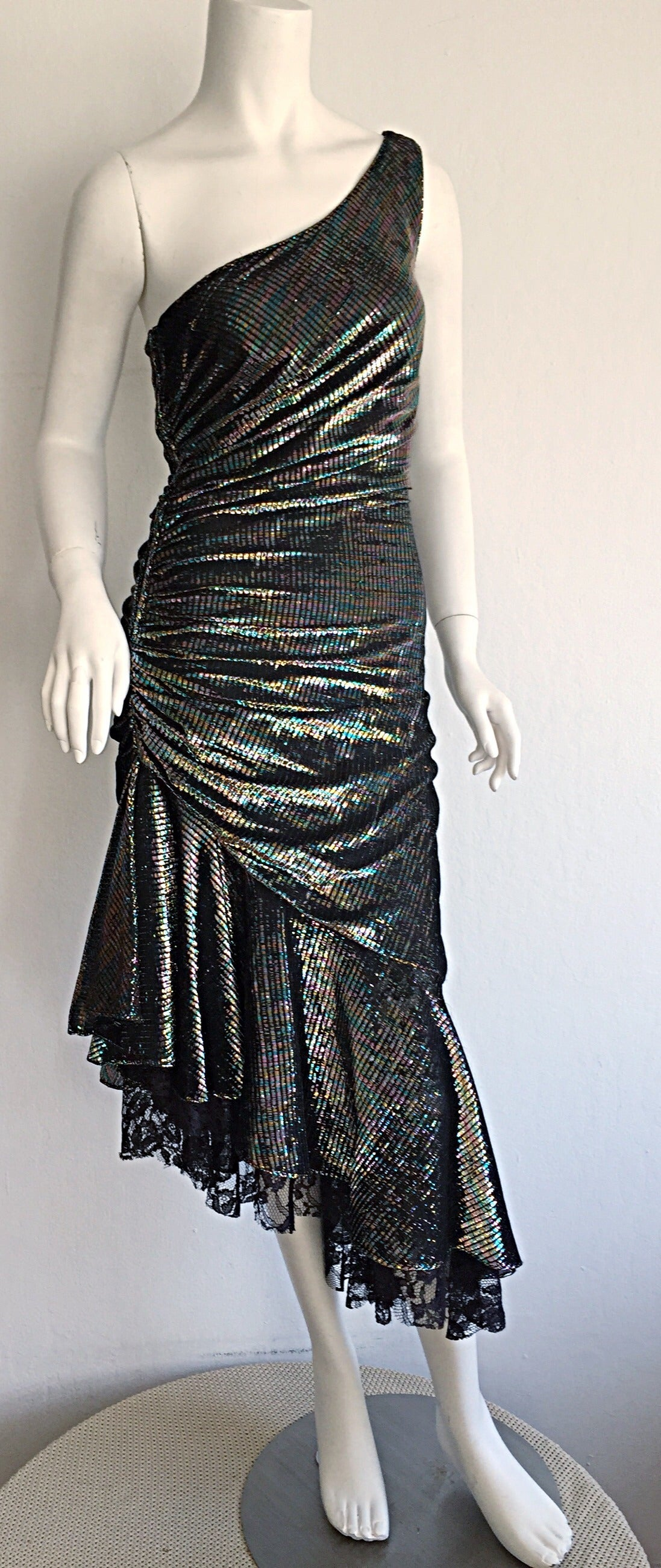 Stunning 1970s Samir One - Shoulder Metallic Rainbow Iridescent Cocktail Dress 8