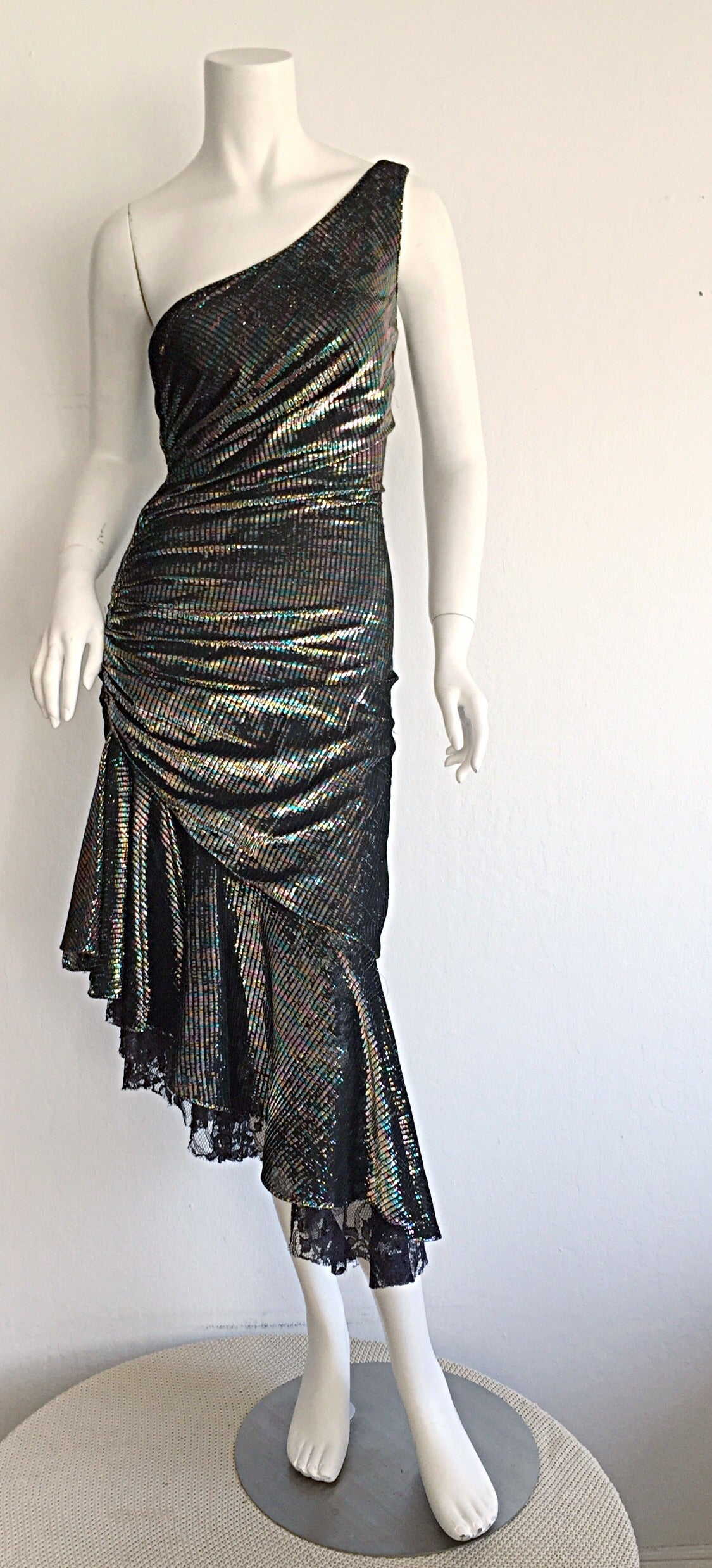 Stunning 1970s Samir One - Shoulder Metallic Rainbow Iridescent Cocktail Dress 9