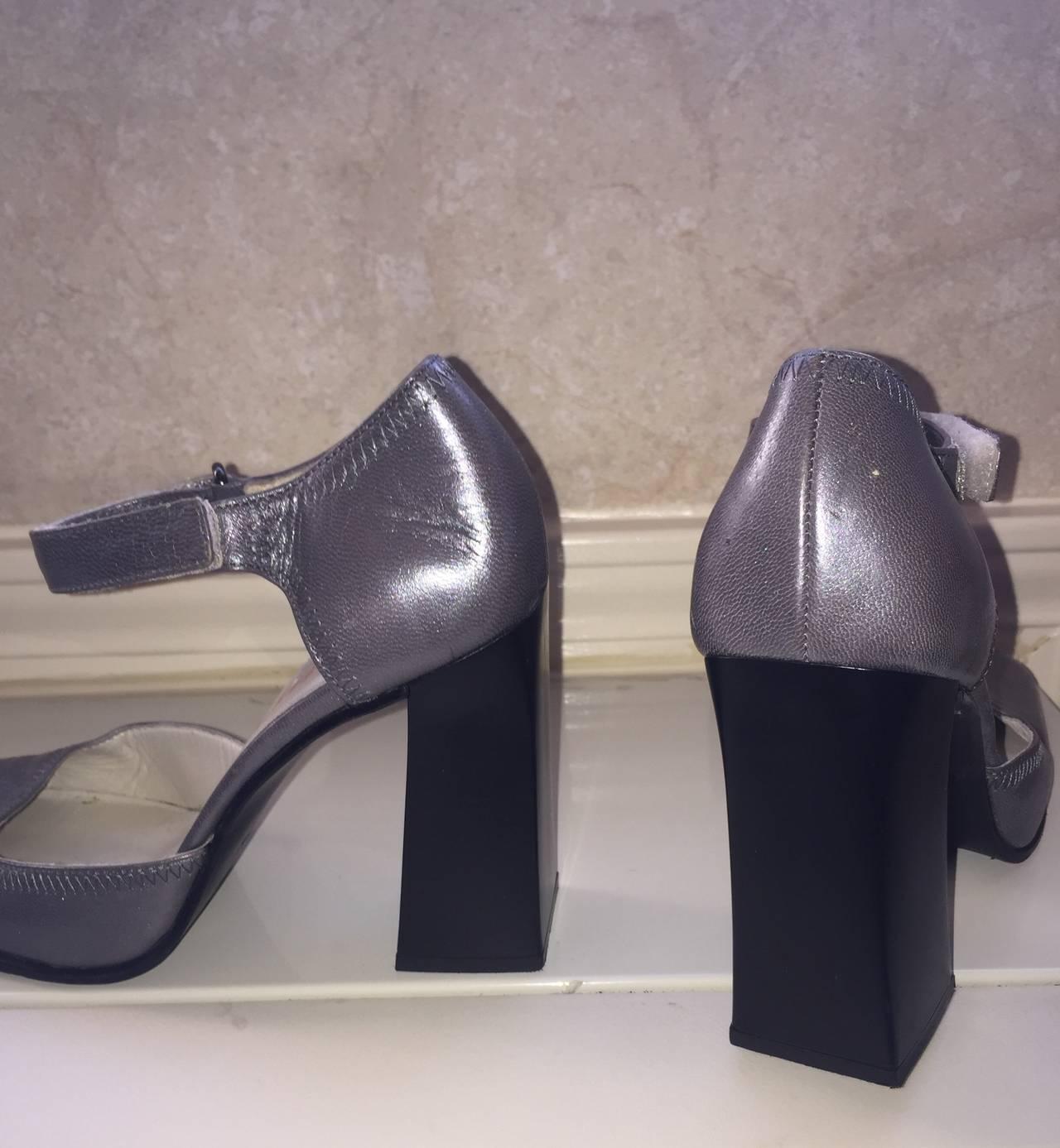 Rare 1990s Vintage Miu Miu ' Architectural ' Gunmetal Block Heels / Shoes 36.5 5