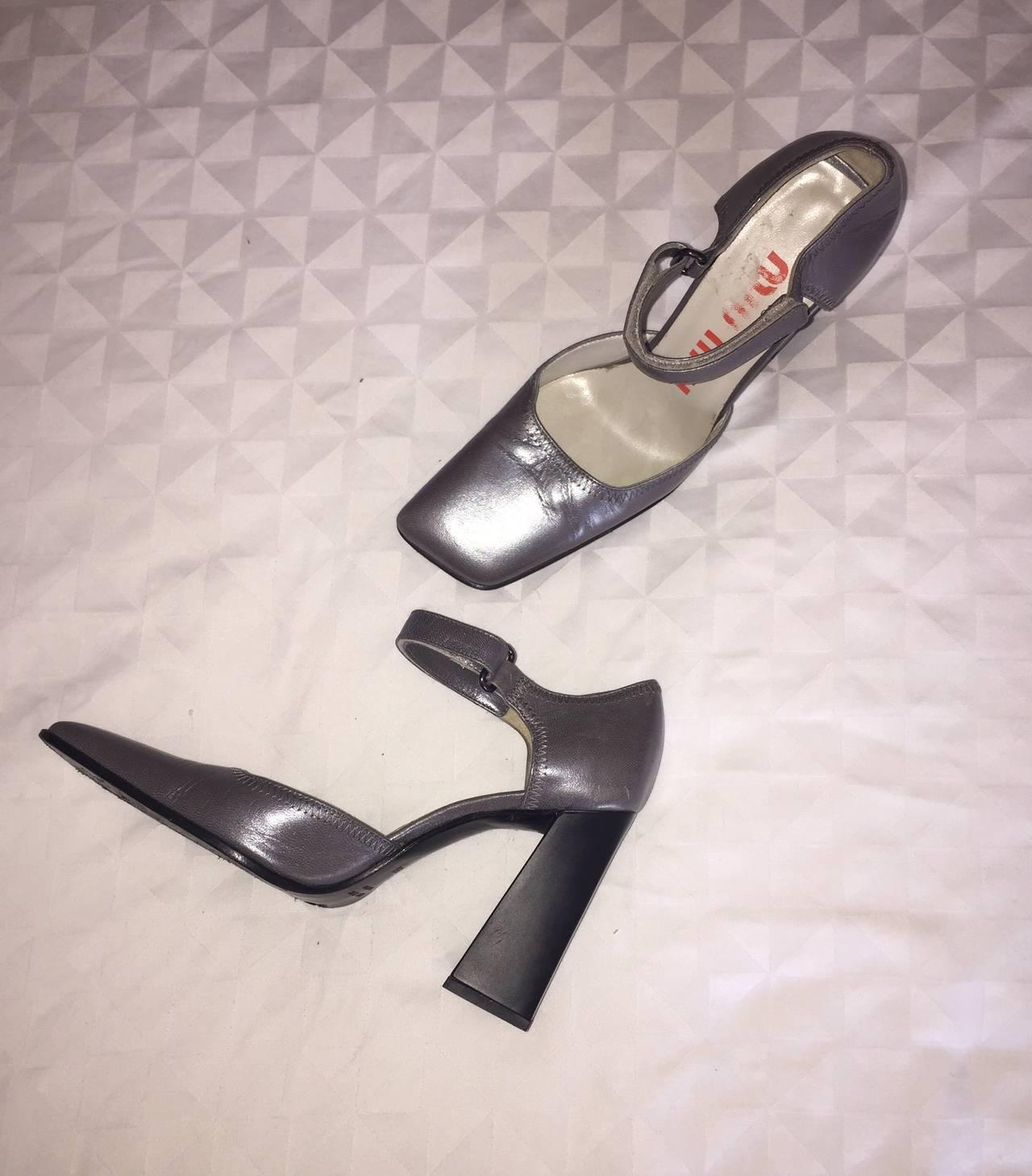Rare 1990s Vintage Miu Miu ' Architectural ' Gunmetal Block Heels / Shoes 36.5 6
