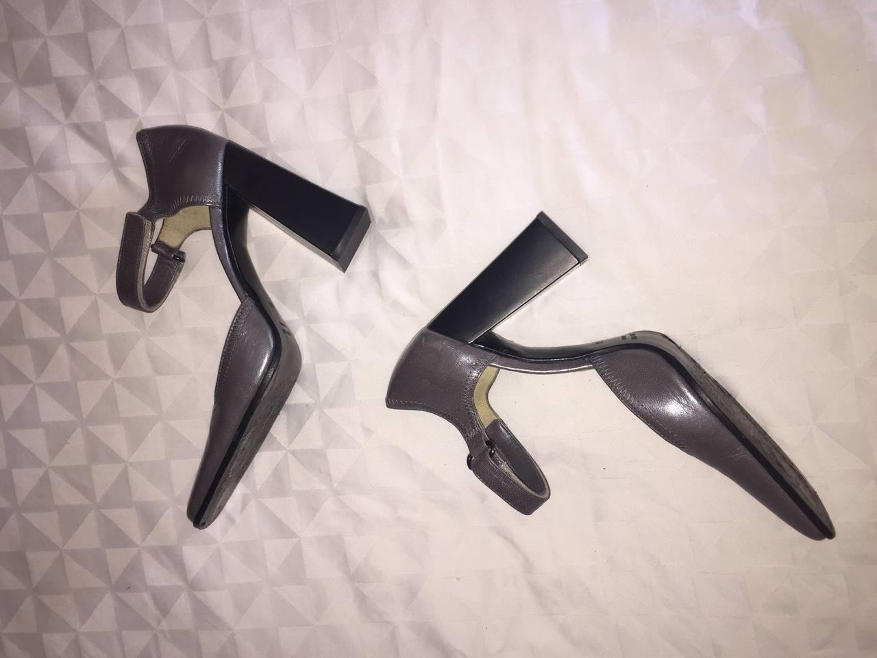 Rare 1990s Vintage Miu Miu ' Architectural ' Gunmetal Block Heels / Shoes 36.5 8