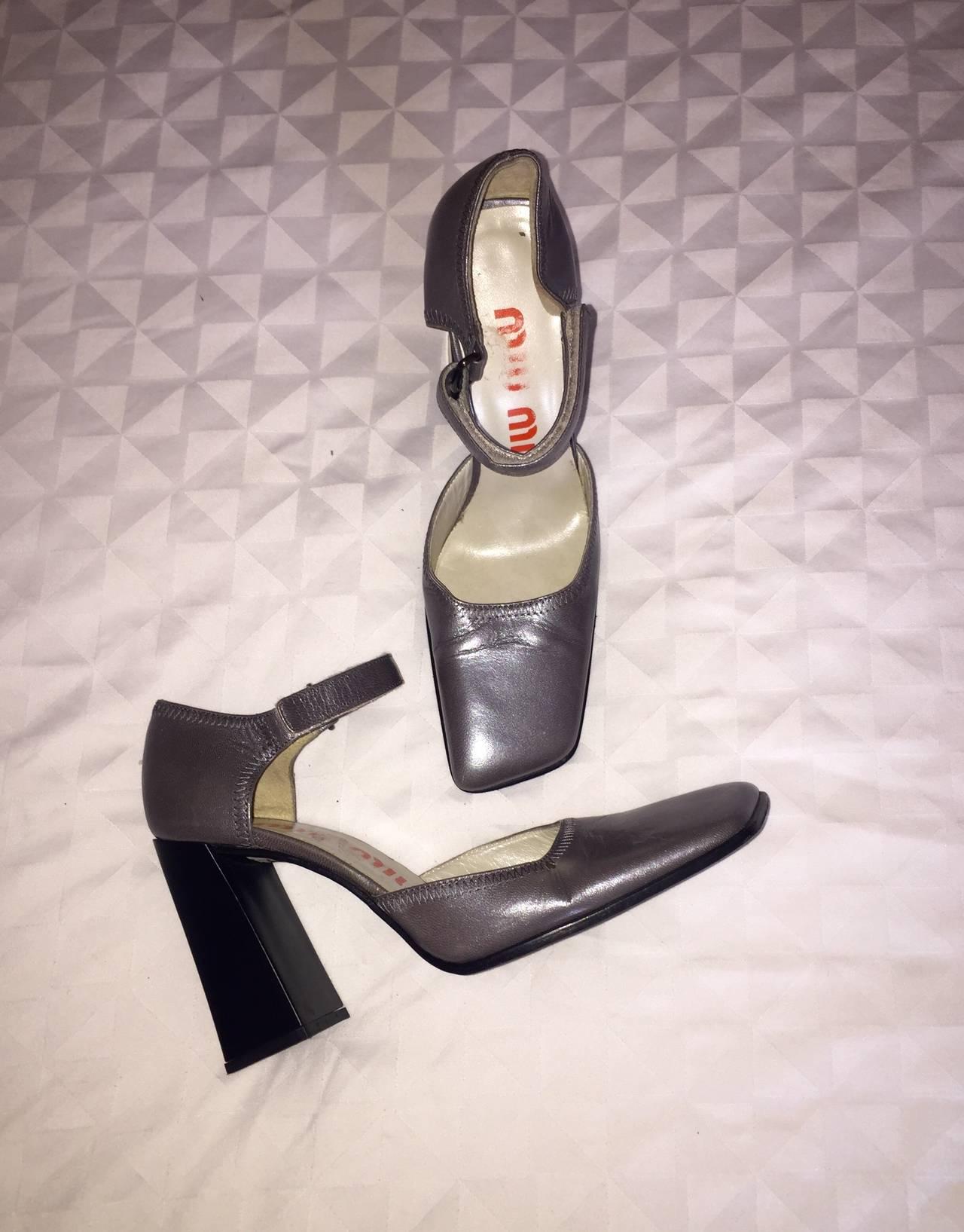 Rare 1990s Vintage Miu Miu ' Architectural ' Gunmetal Block Heels / Shoes 36.5 9