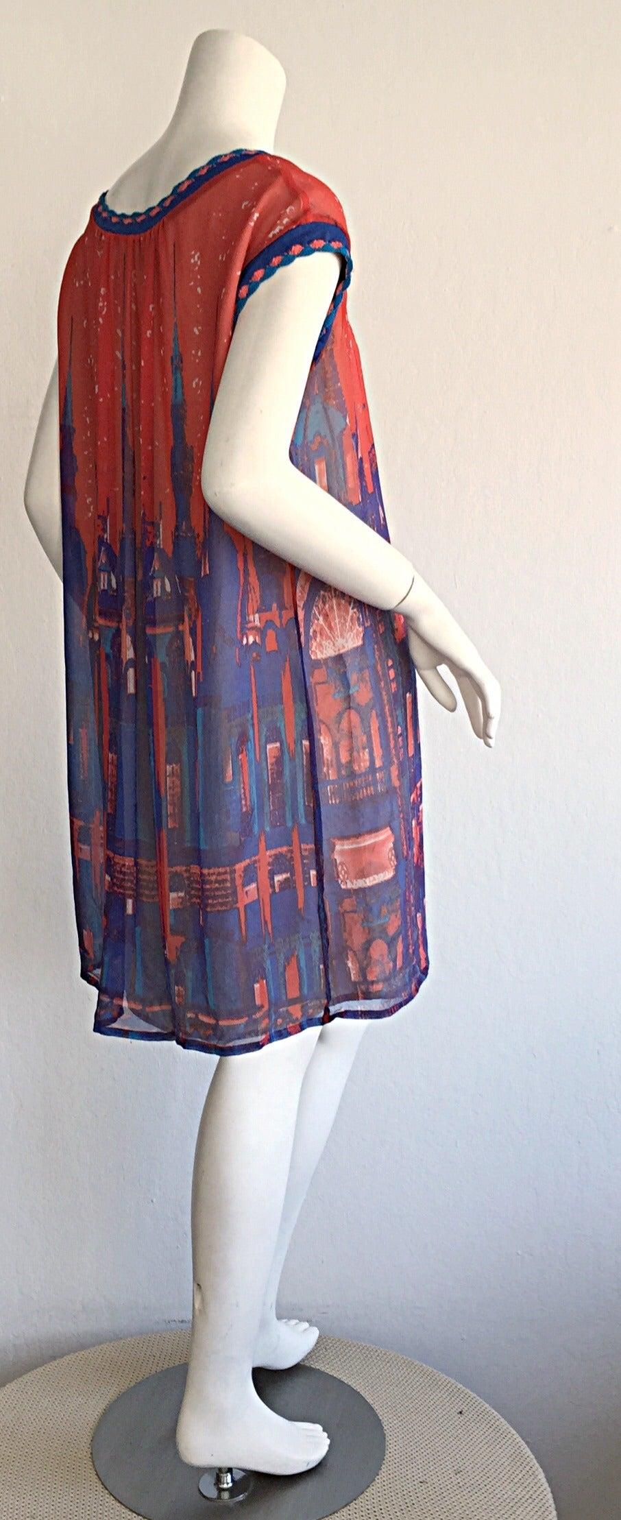 Cacharel quot gotham city colorful skyline silk crochet