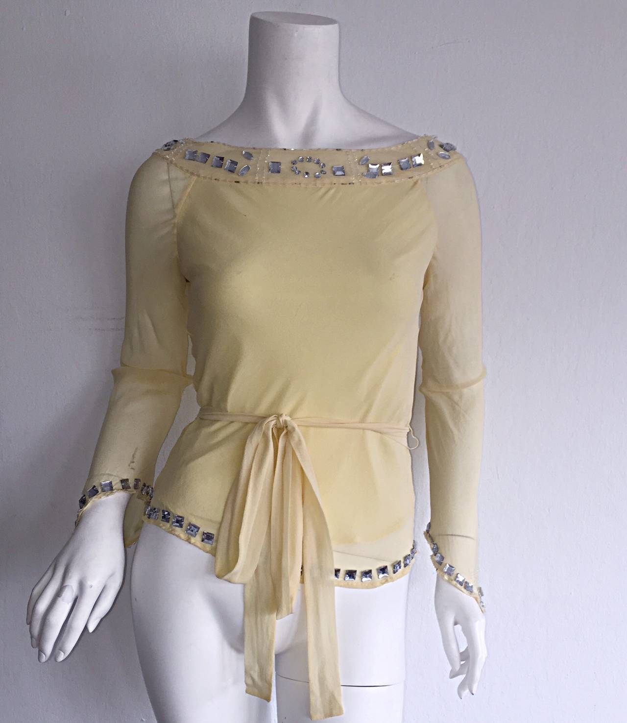Beige 1990s Vintage Chloe by Karl Lagerfeld Yellow Chiffon Angel Blouse w/ Rhinestones For Sale